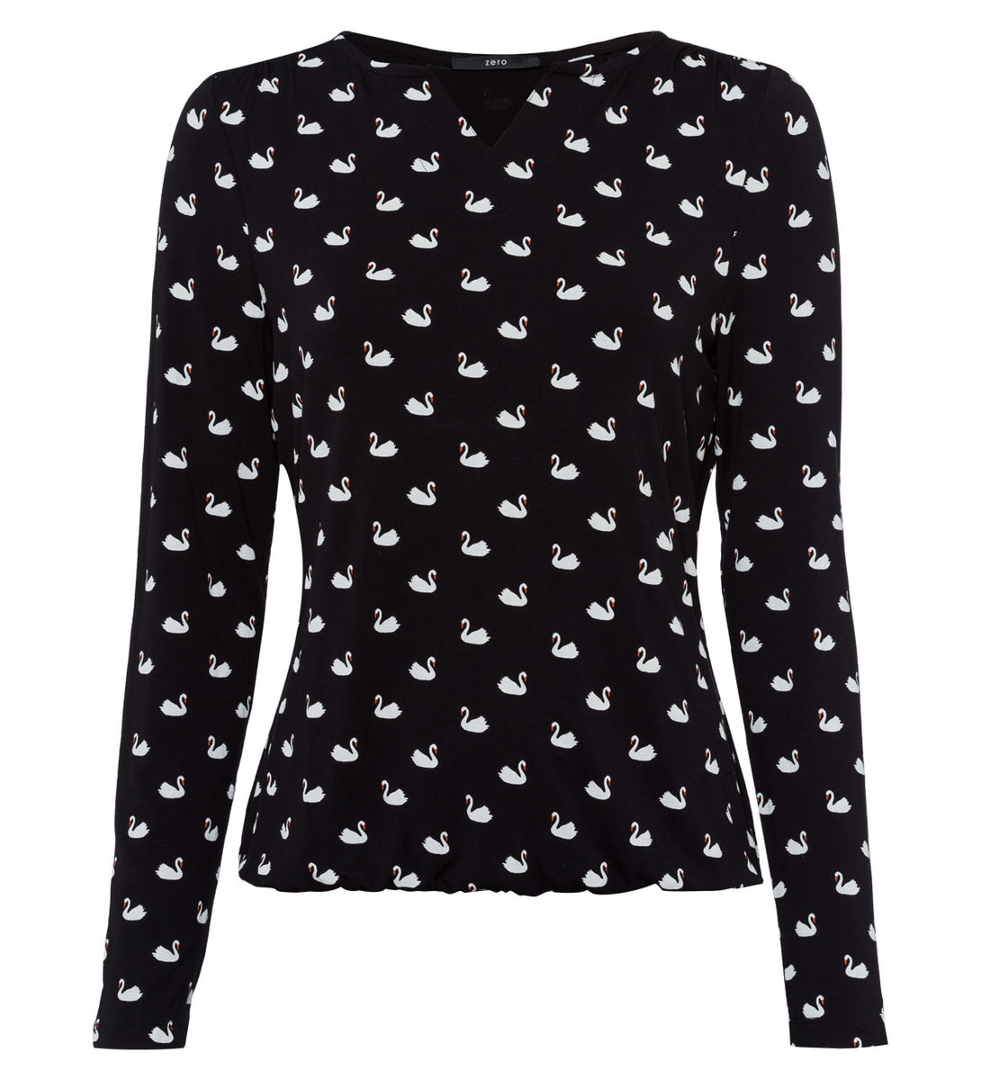Shirt mit Schwanendruck in black