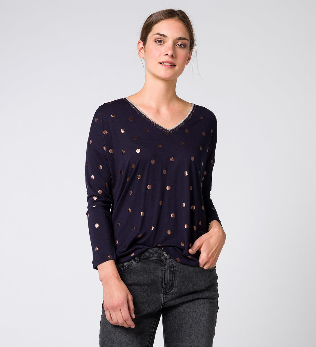 T-Shirt mit Punktemuster blue black