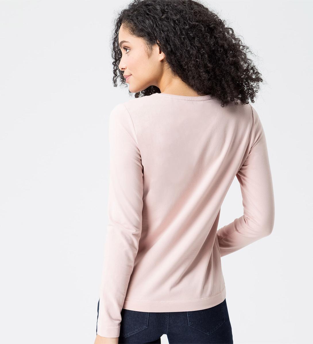 Shirt mit V-Ausschnitt in rose parfait