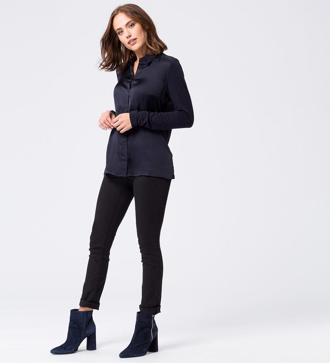 Bluse mit Knopfleiste in blue black