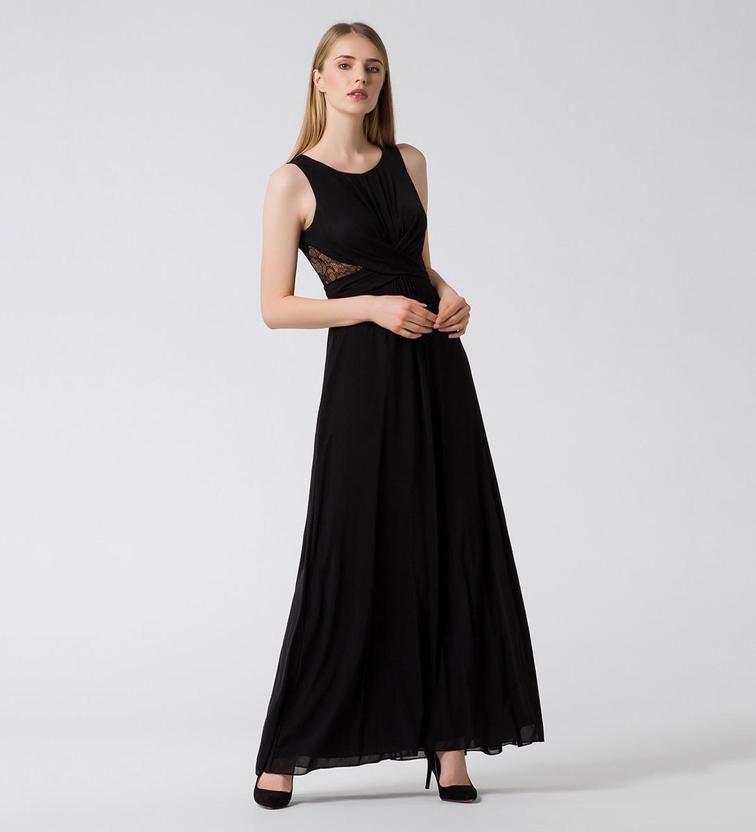 Kleid mit Details aus Spitze in black