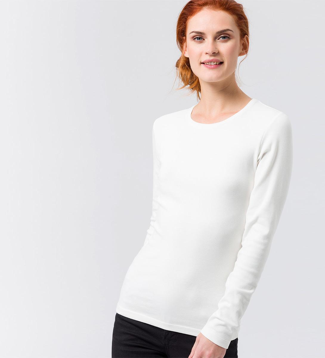 Langarmshirt mit Rundhalsausschnitt in offwhite