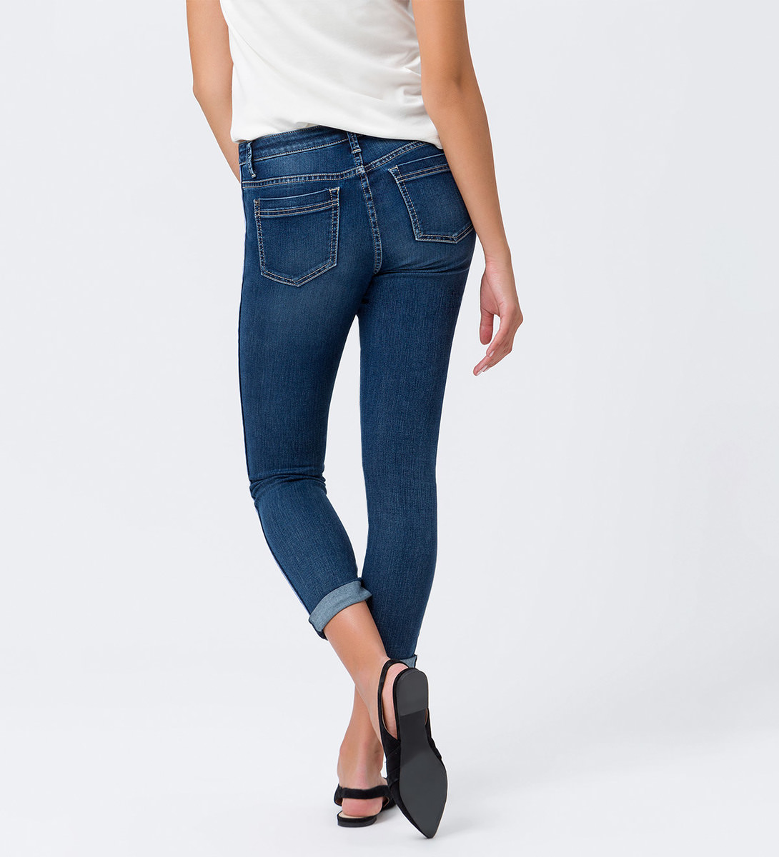 Jeans mit Streifen an den Seiten in mid blue wash