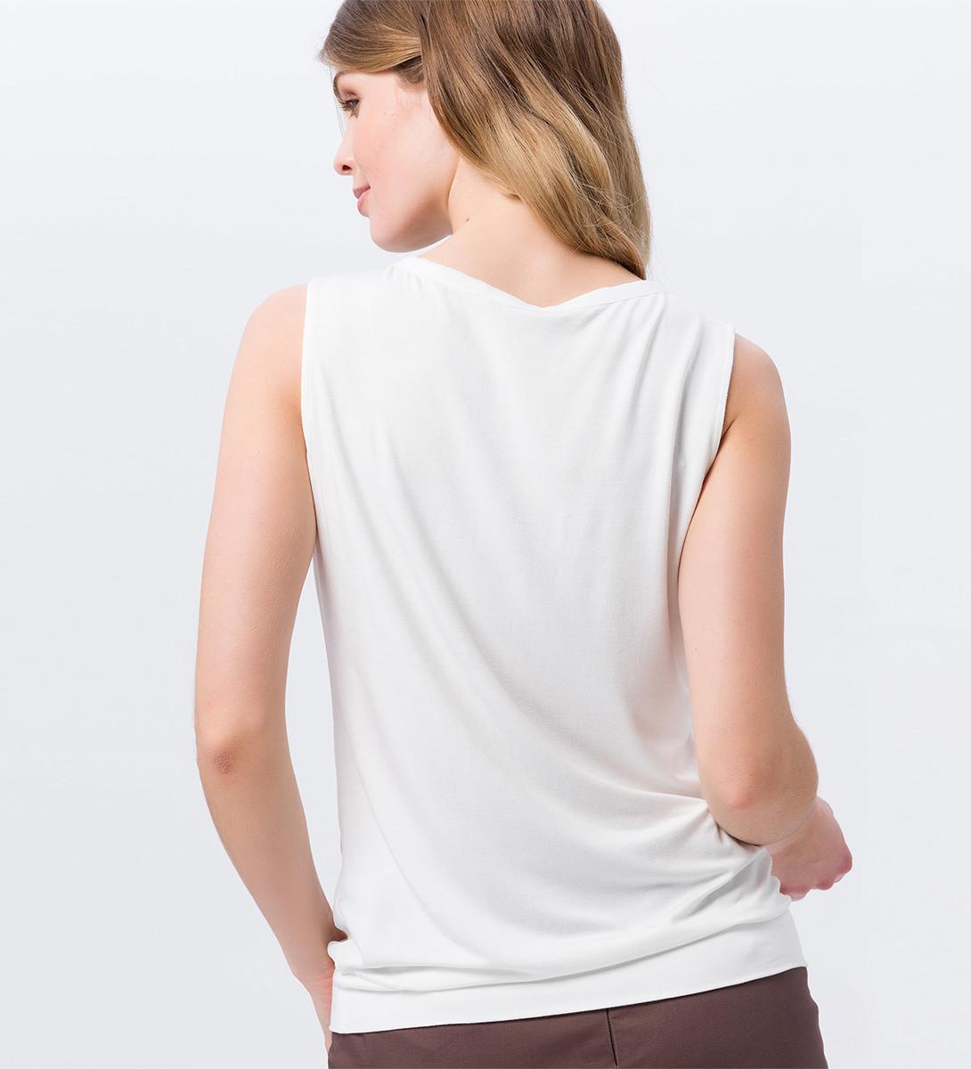 Bluse mit Bindedetail und Faltenwurf in offwhite