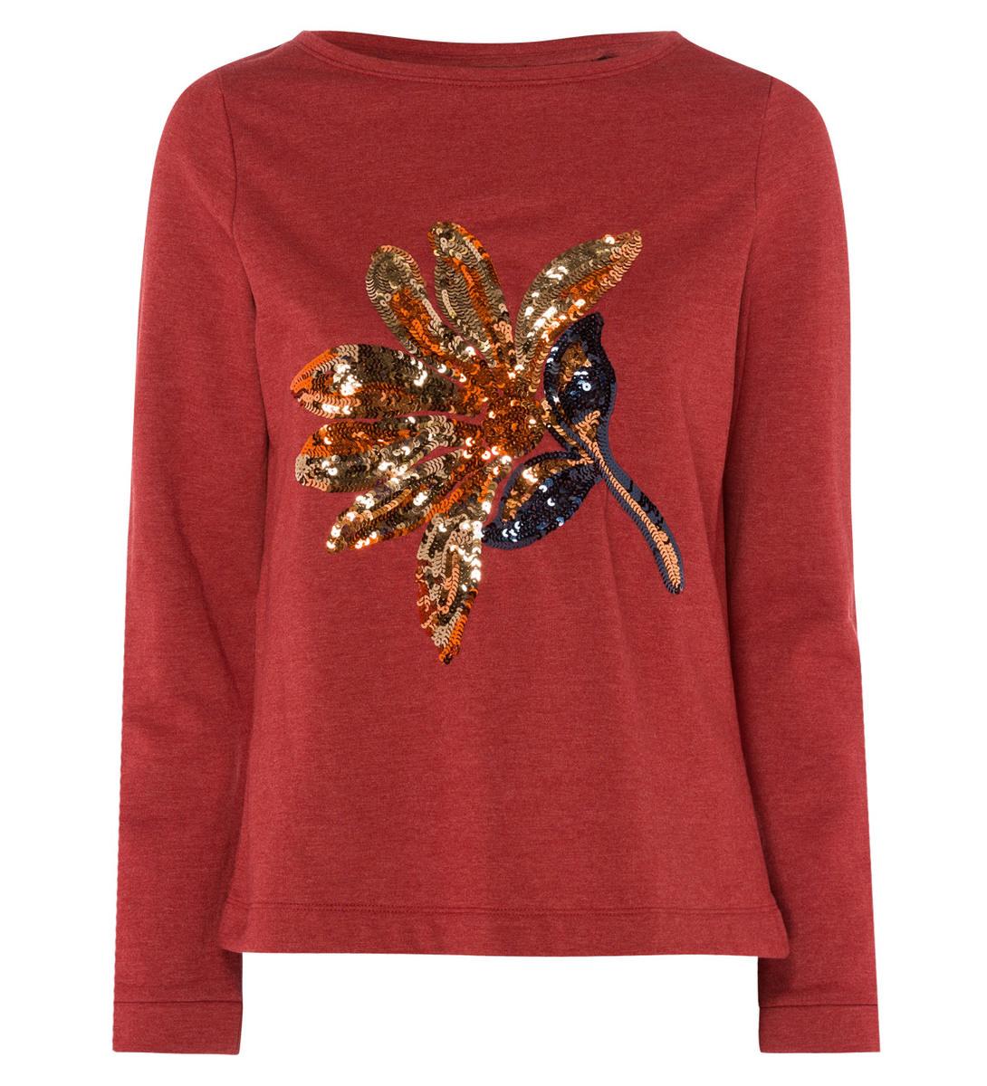 Sweatshirt mit Paillettenmotiv in winter orange