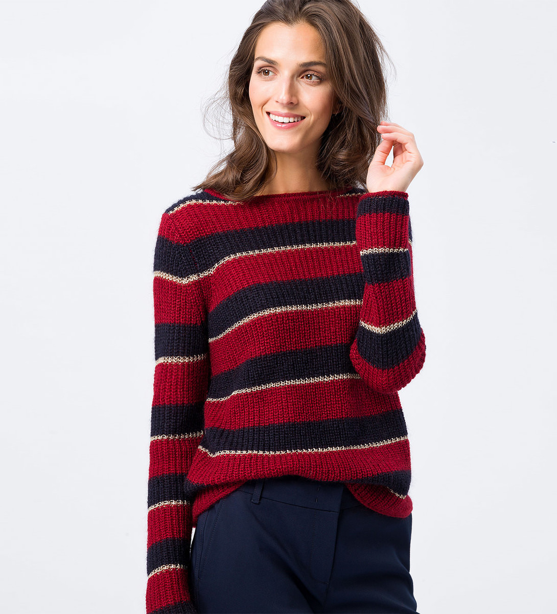 Pullover mit Mohair in blue black