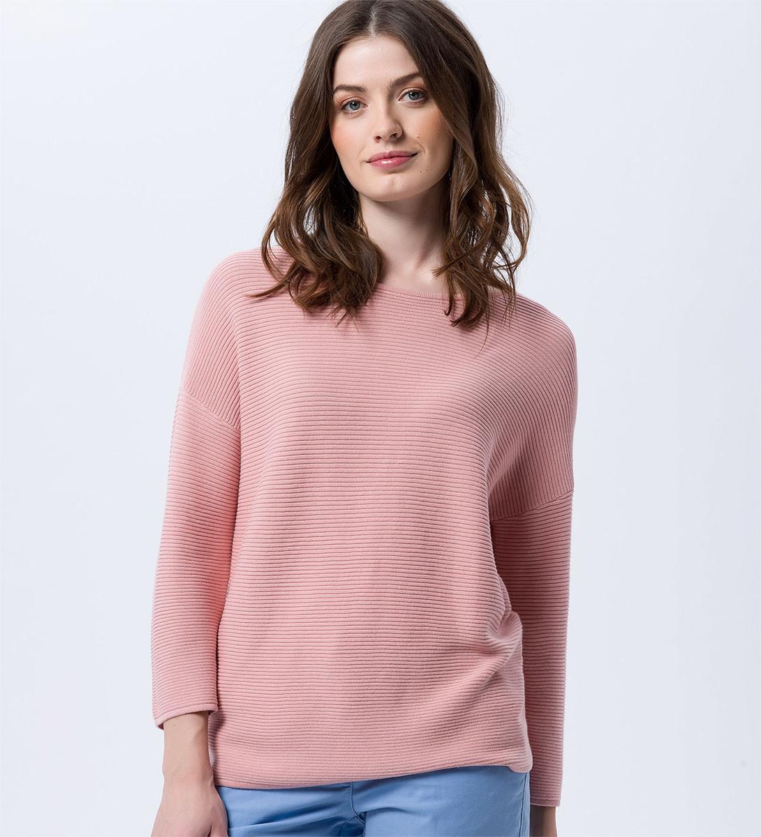 Pullover in Ripp-Optik in dusty pink