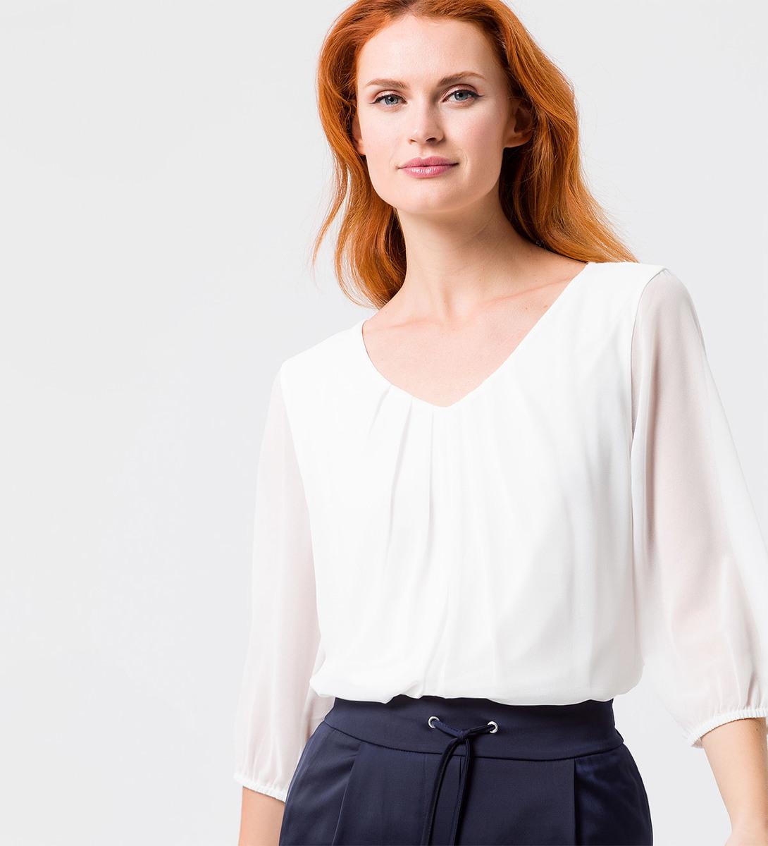 Blusenshirt mit transparenten Ärmeln in offwhite