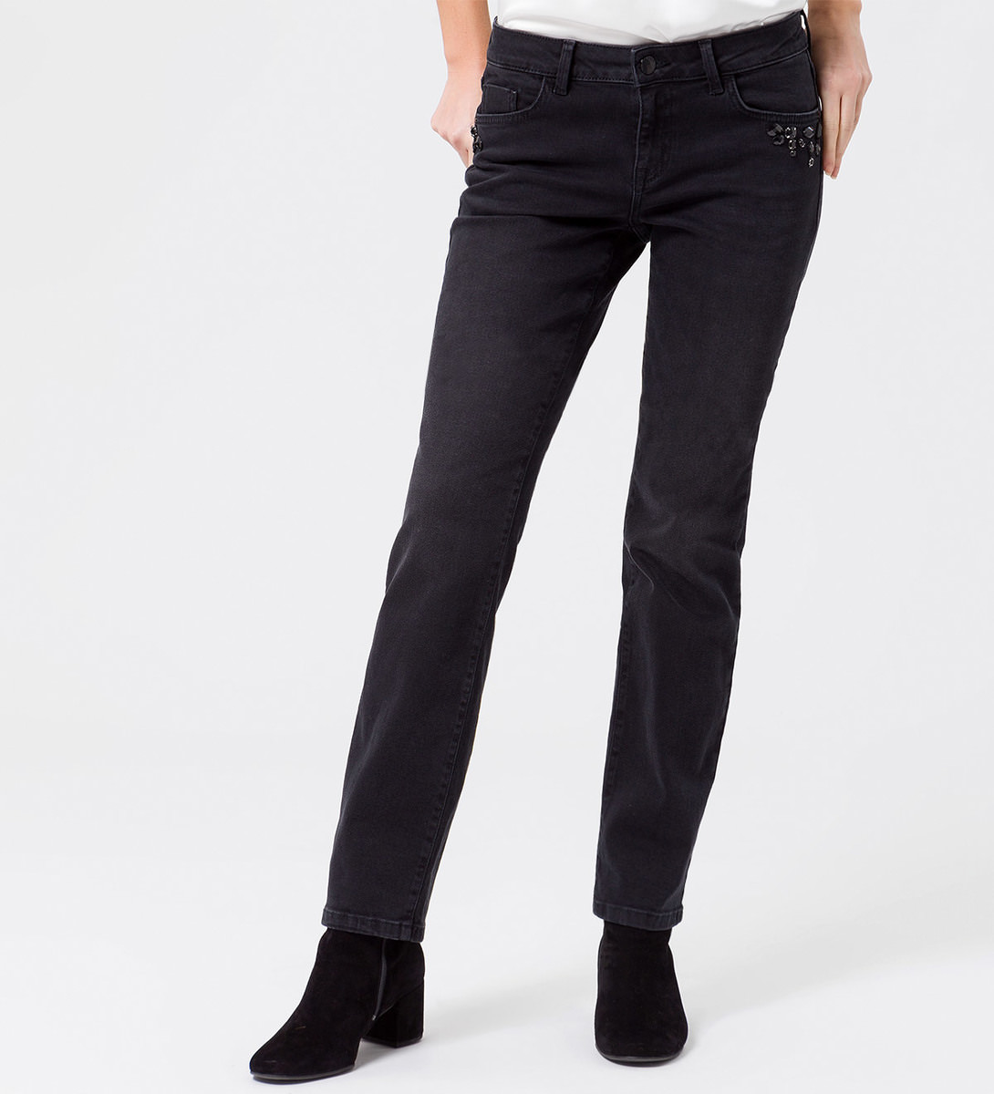 Jeans mit dezenten Applikationen 32 Inch in black washed