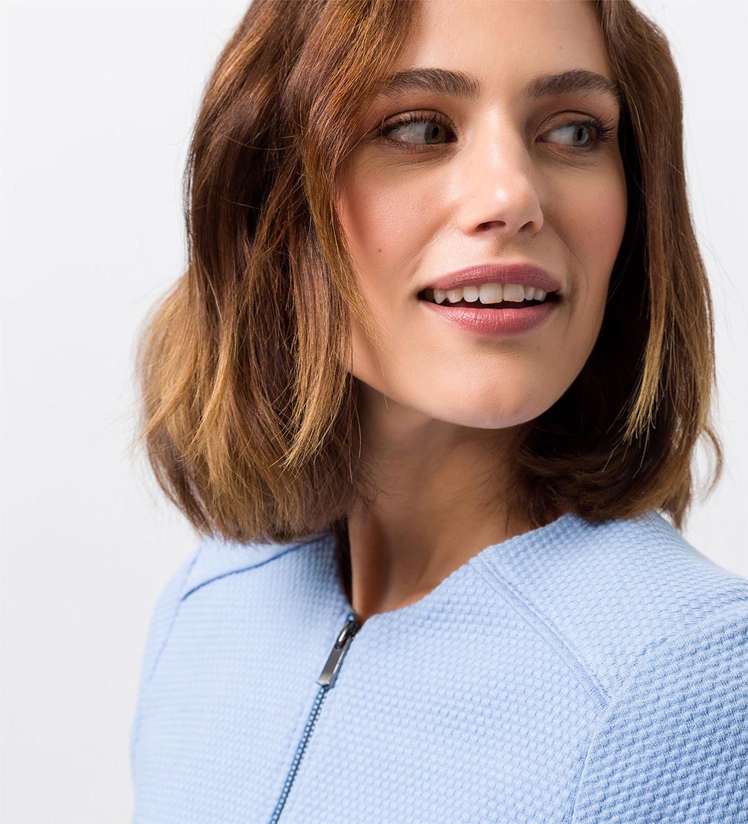 Jersey Cardigan mit Reißverschluss in azur blue