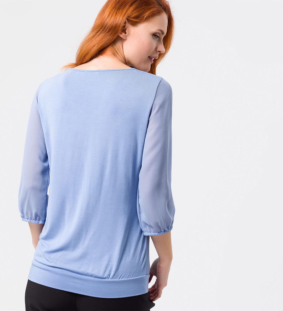 Blusenshirt mit transparenten Ärmeln in shadow blue