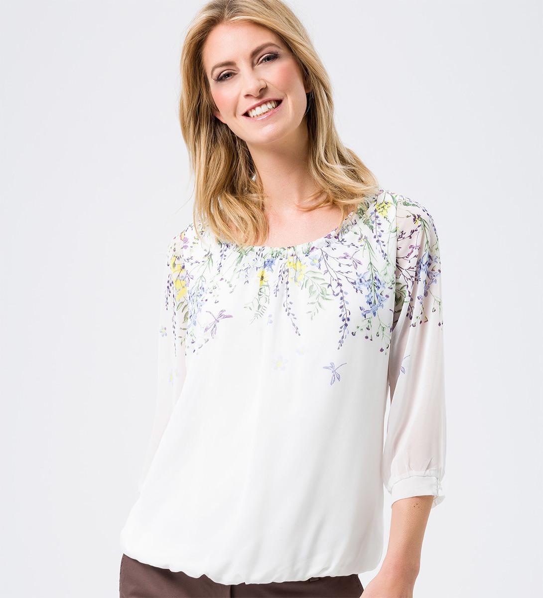 Bluse mit raffiniertem Ausschnitt in soft white