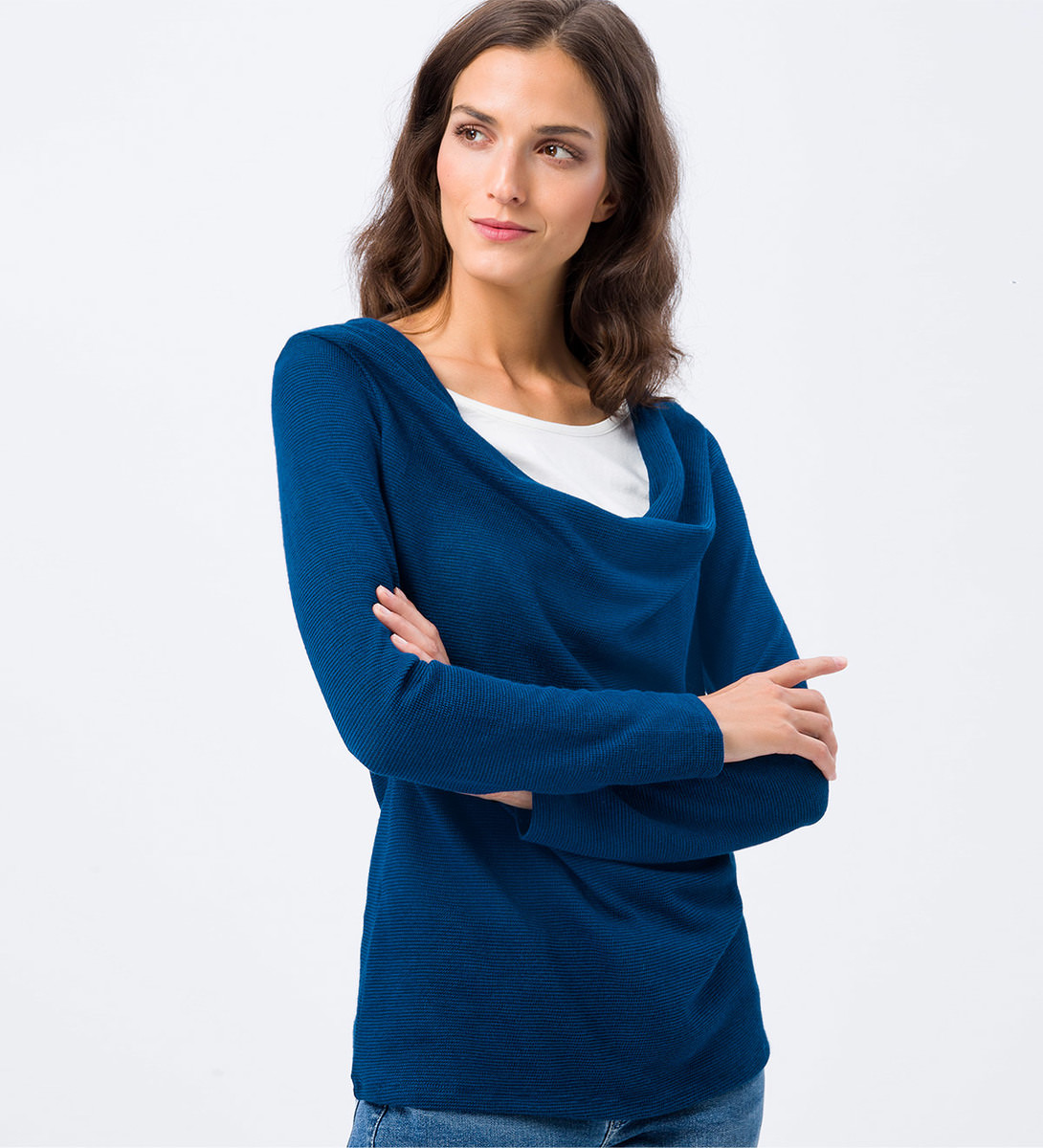 Sweatshirt mit Layer-Optik in petrol blue