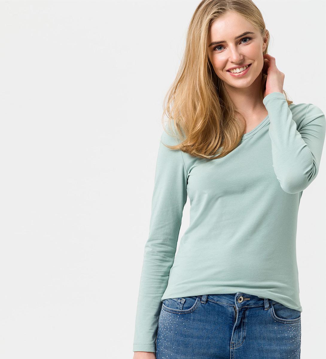Shirt mit V-Ausschnitt in light jade