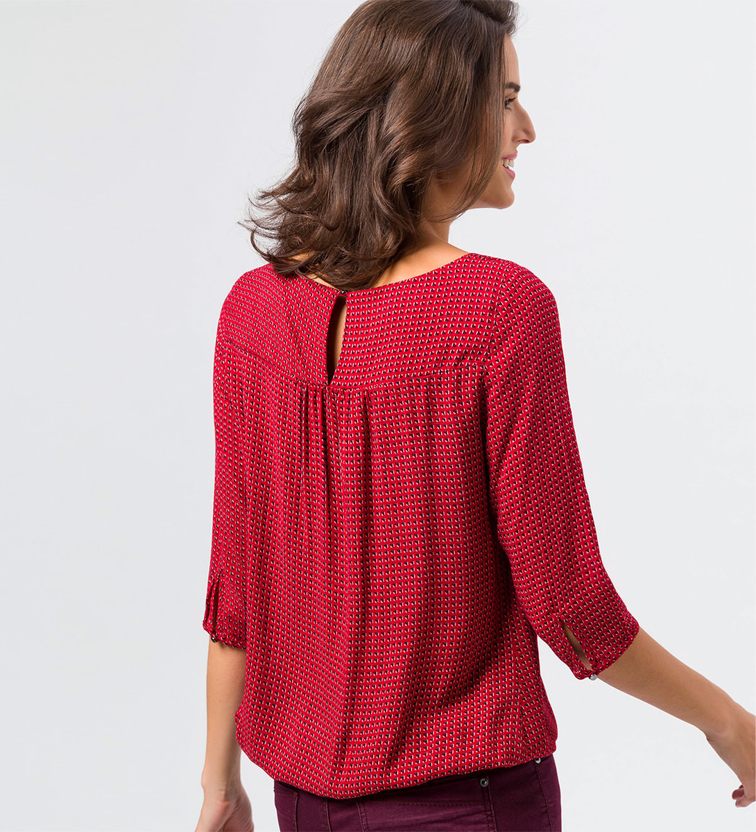 Bluse mit grafischem Alloverprint in tango red