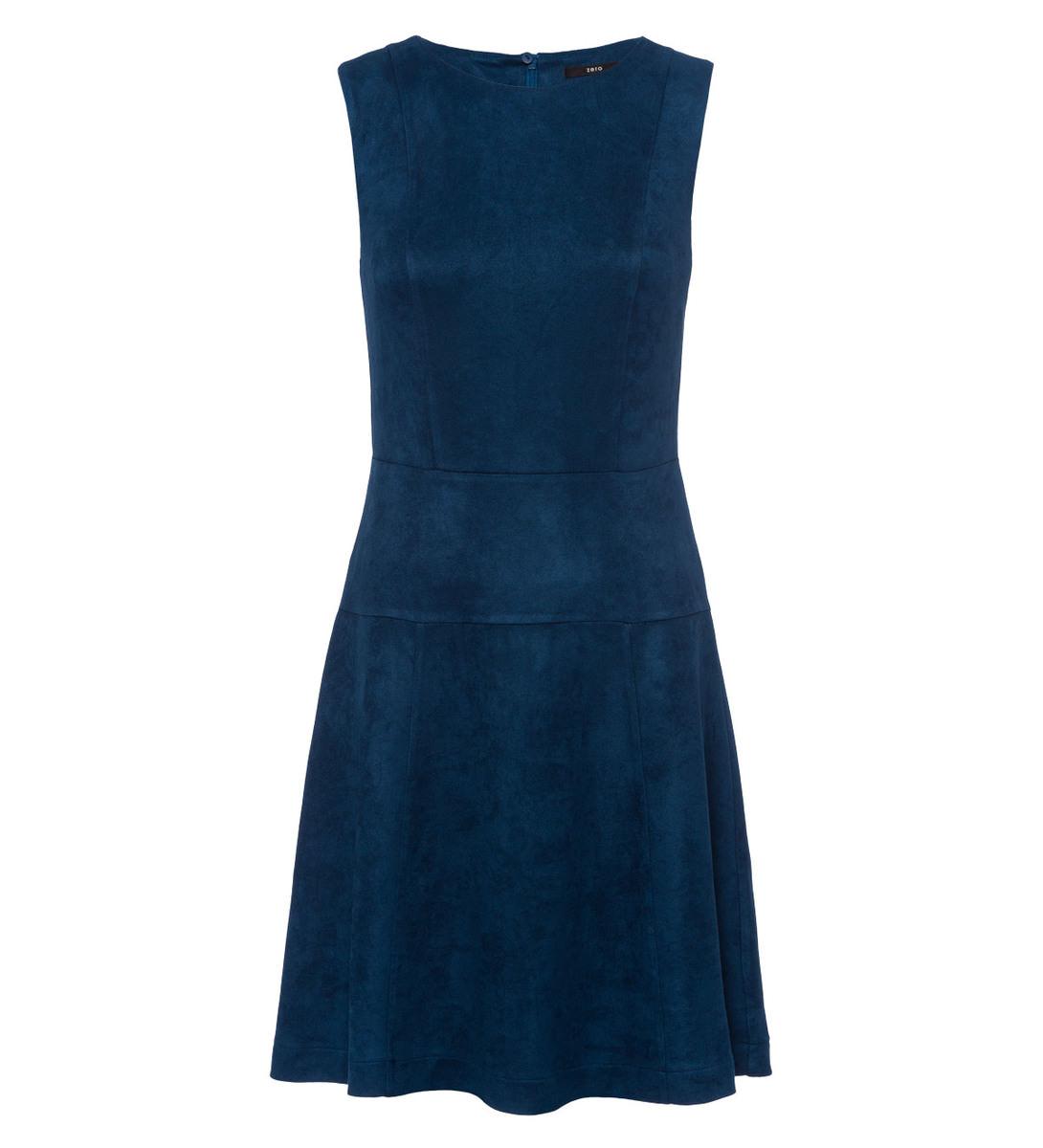 Kleid im Velours-Look in petrol blue