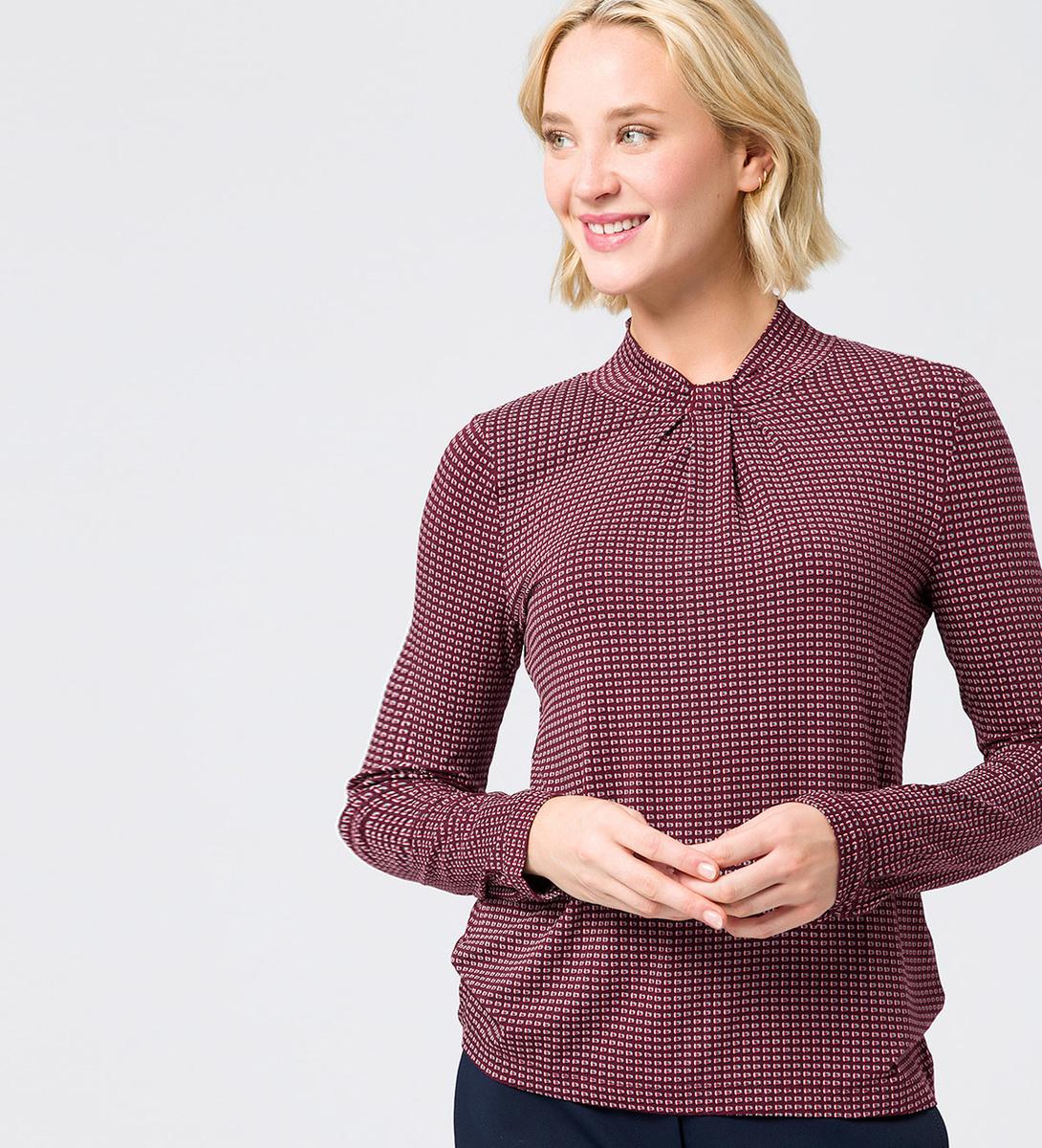 Shirt mit Knotendetail am Ausschnitt in grape red