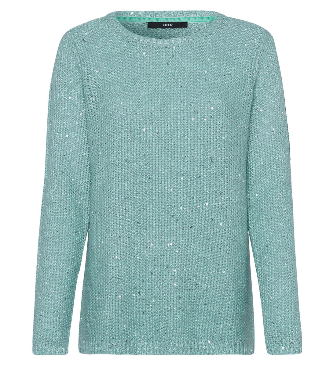 Pullover mit Pailletten in light jade