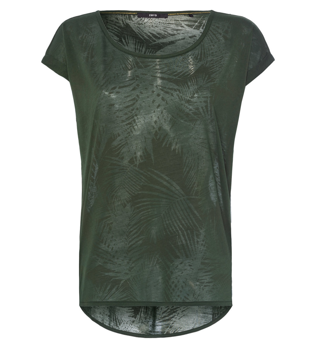 T-Shirt mit Ausbrenner Muster in cypress olive