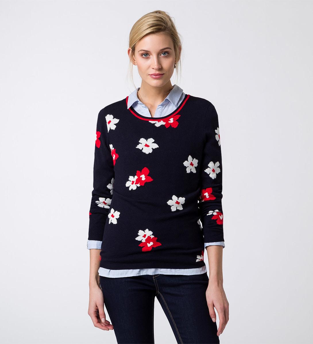 Pullover mit floralem Muster in blue black