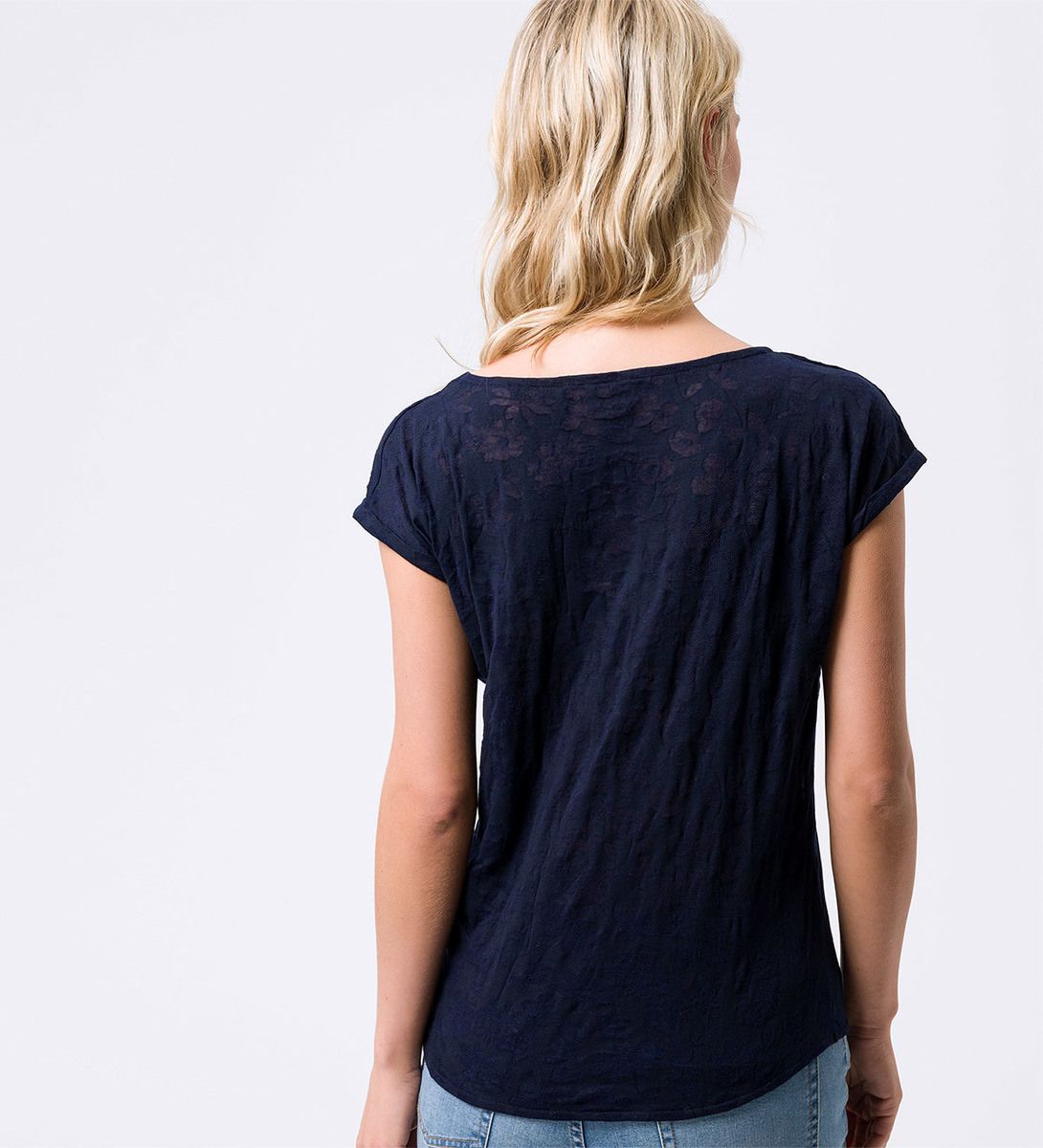 T-Shirt mit Ausbrennermuster in blue black