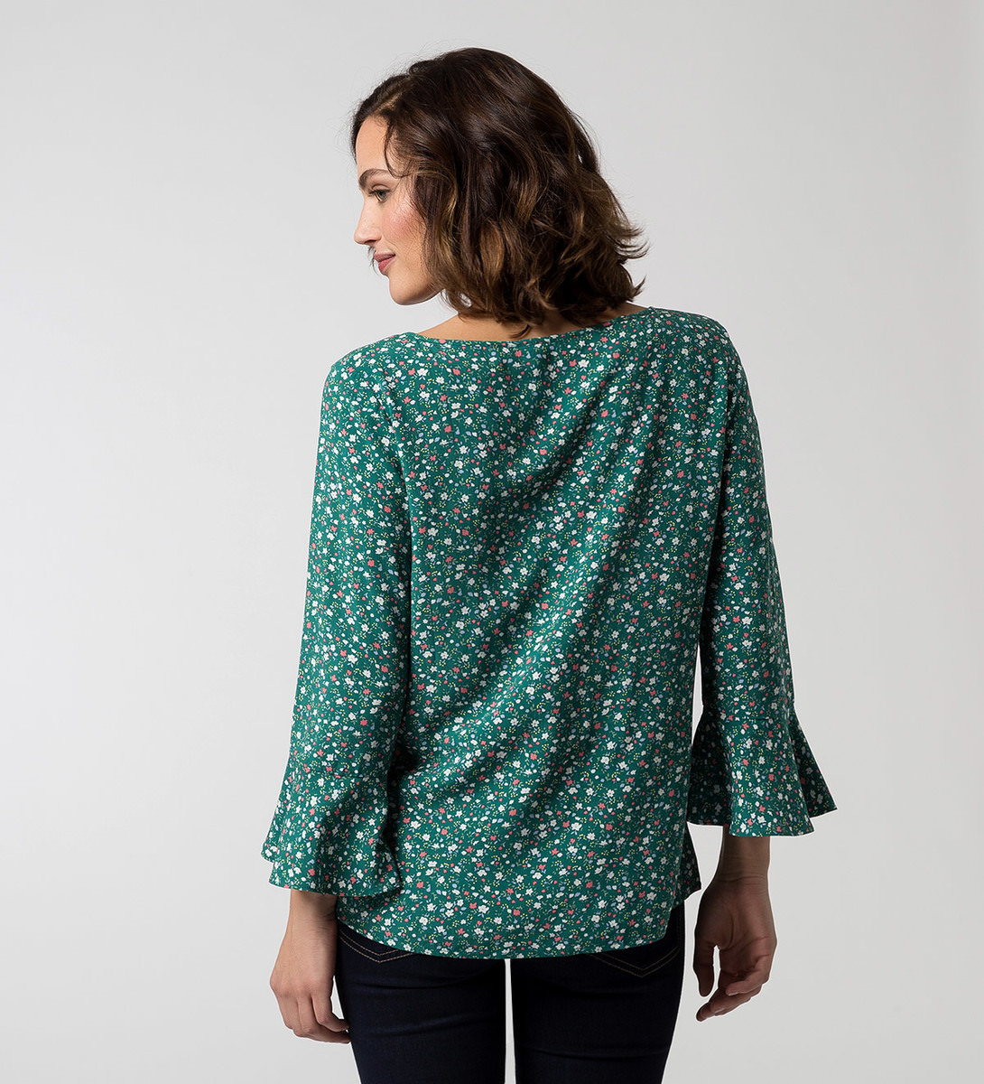 Bluse mit Alloverprint in ivy green