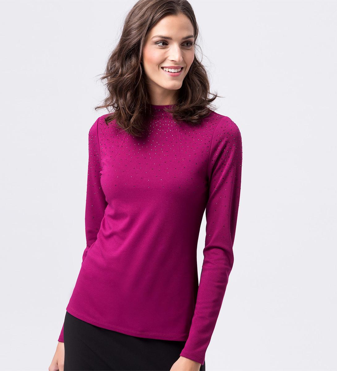 Shirt mit Strasssteinen in dark magenta