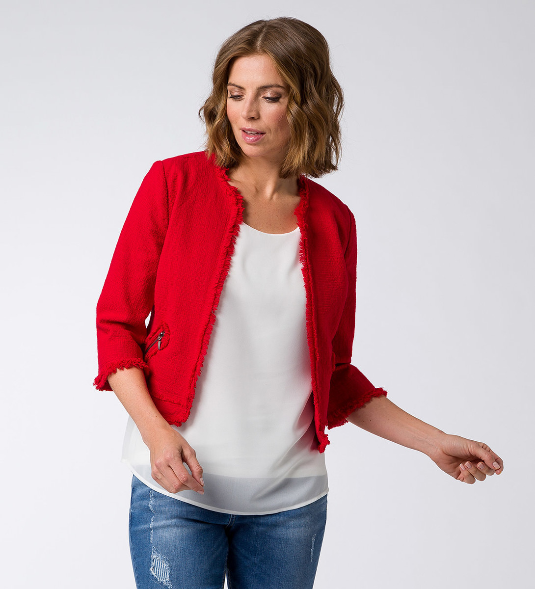 Blazer mit Fransenkante in flame red