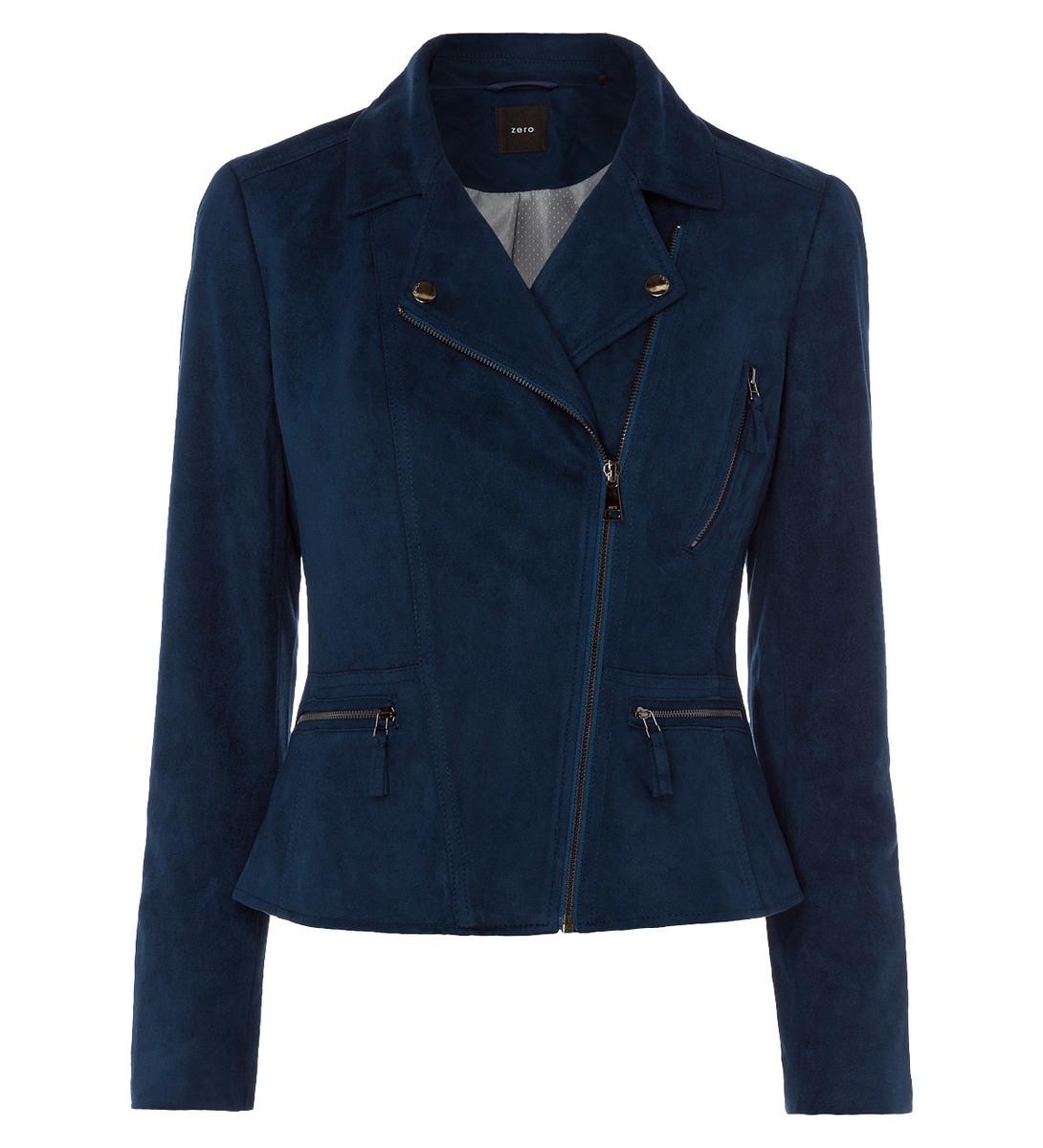 Jacke in modernen Biker- Design in petrol blue