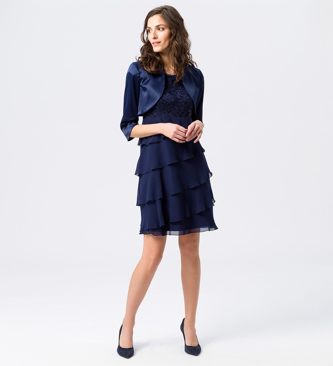 Kleid mit Paillettenbesatz in ink blue