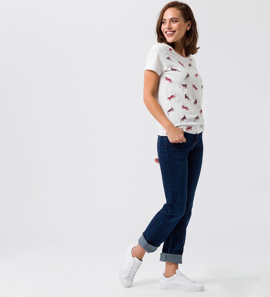 T-Shirt mit Print und Glitzersteinen vorn in offwhite