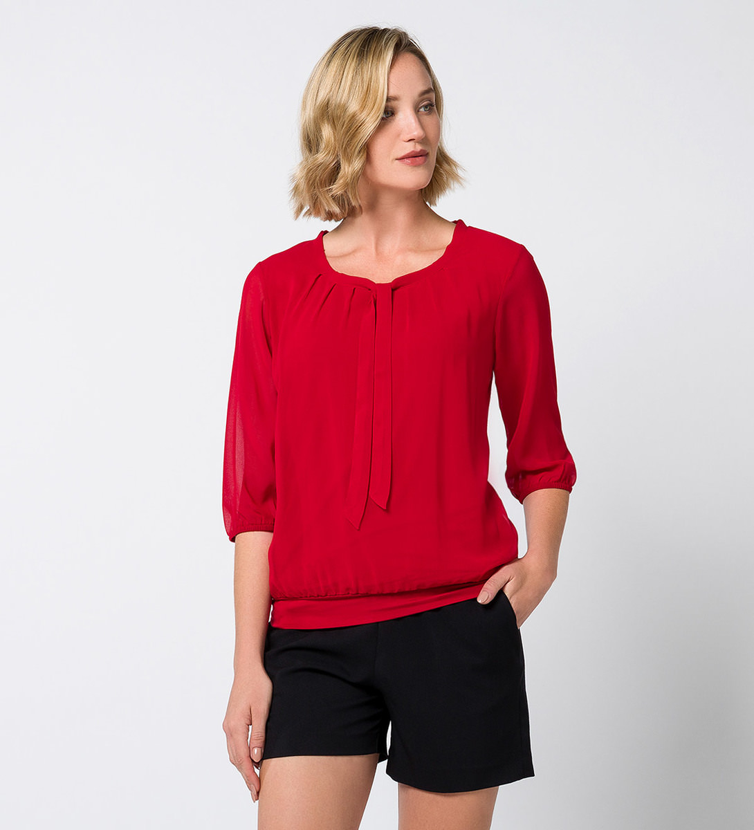 Bluse Celeste mit Schluppenkragen in red flower