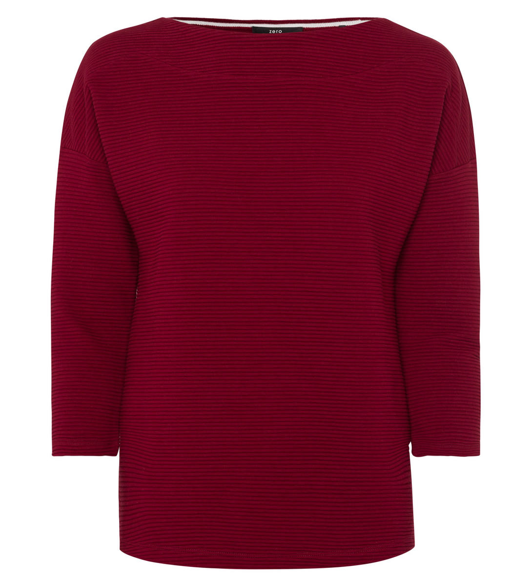 Sweatshirt mit U-Boot-Ausschnitt in wine red