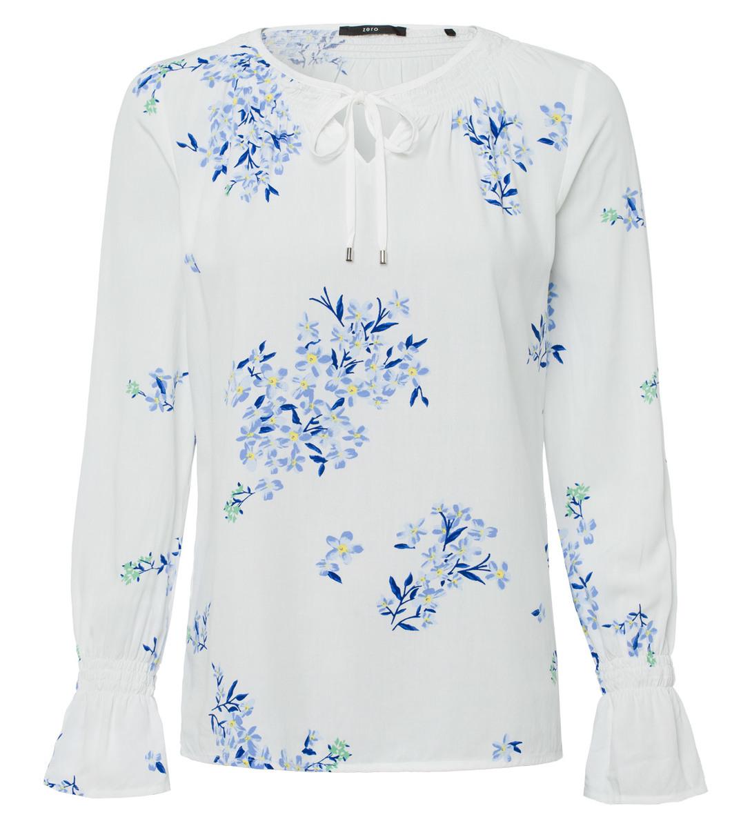 Bluse mit Blumendruck in offwhite
