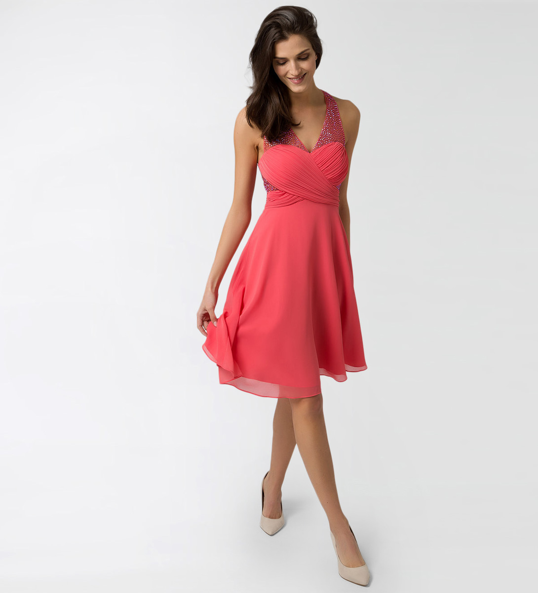 Kleid im raffinierten Design in soft melon
