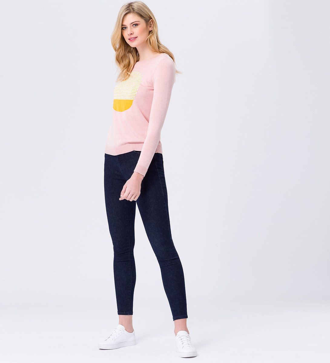Pullover mit Muster vorn in rose parfait