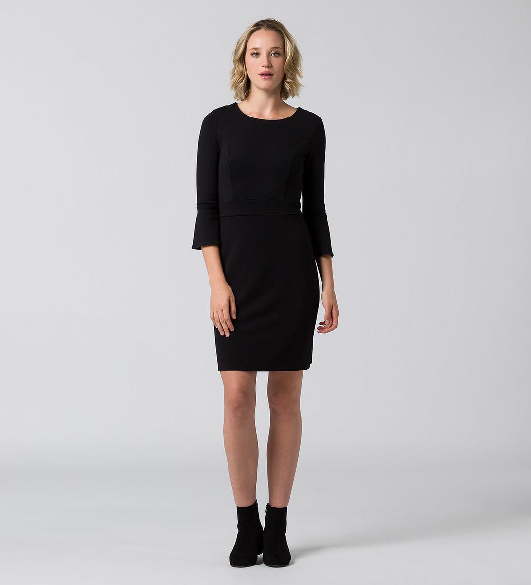 Kleid mit Trompetenärmeln in black