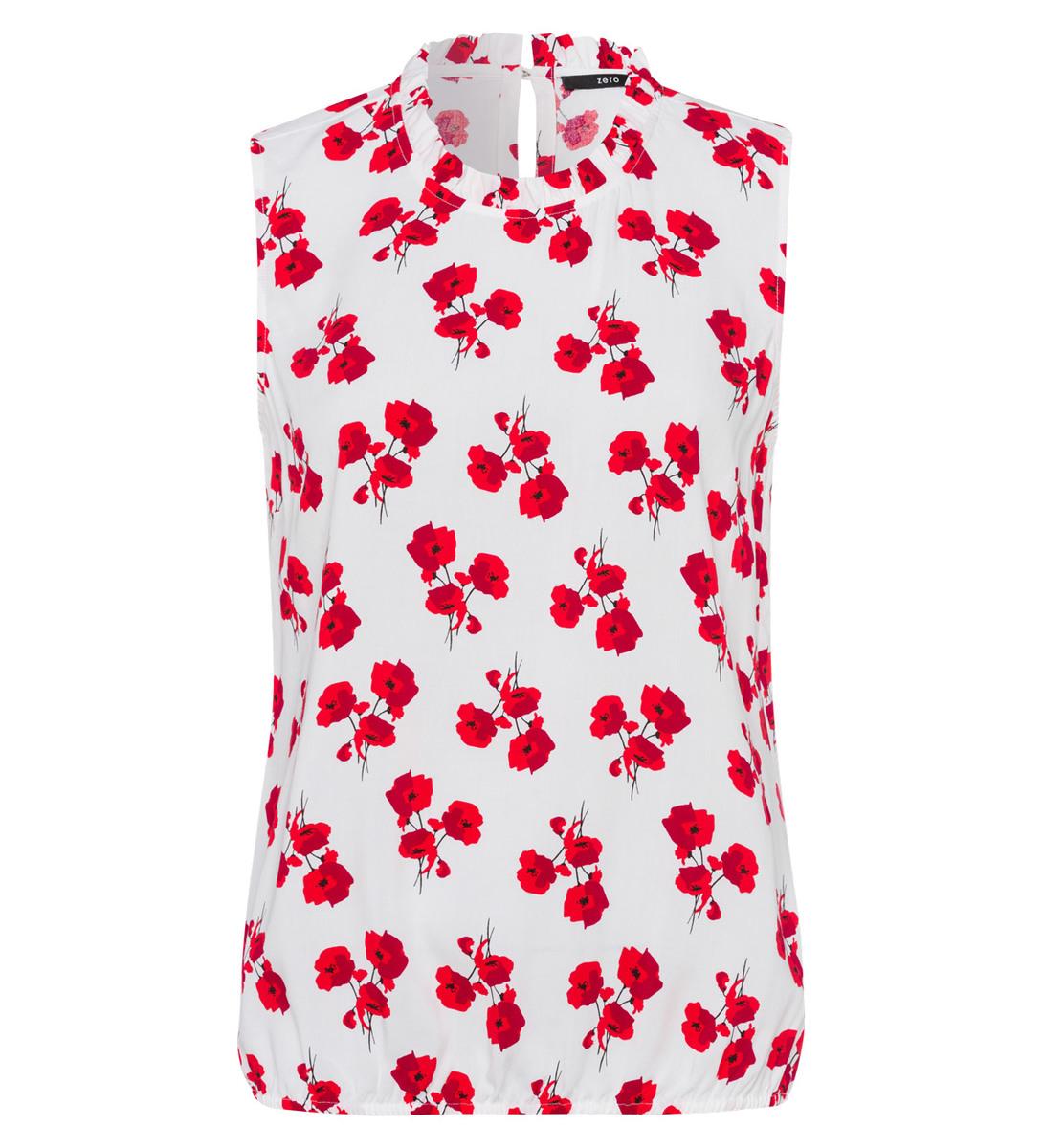 Bluse im floralen Design in fresh red