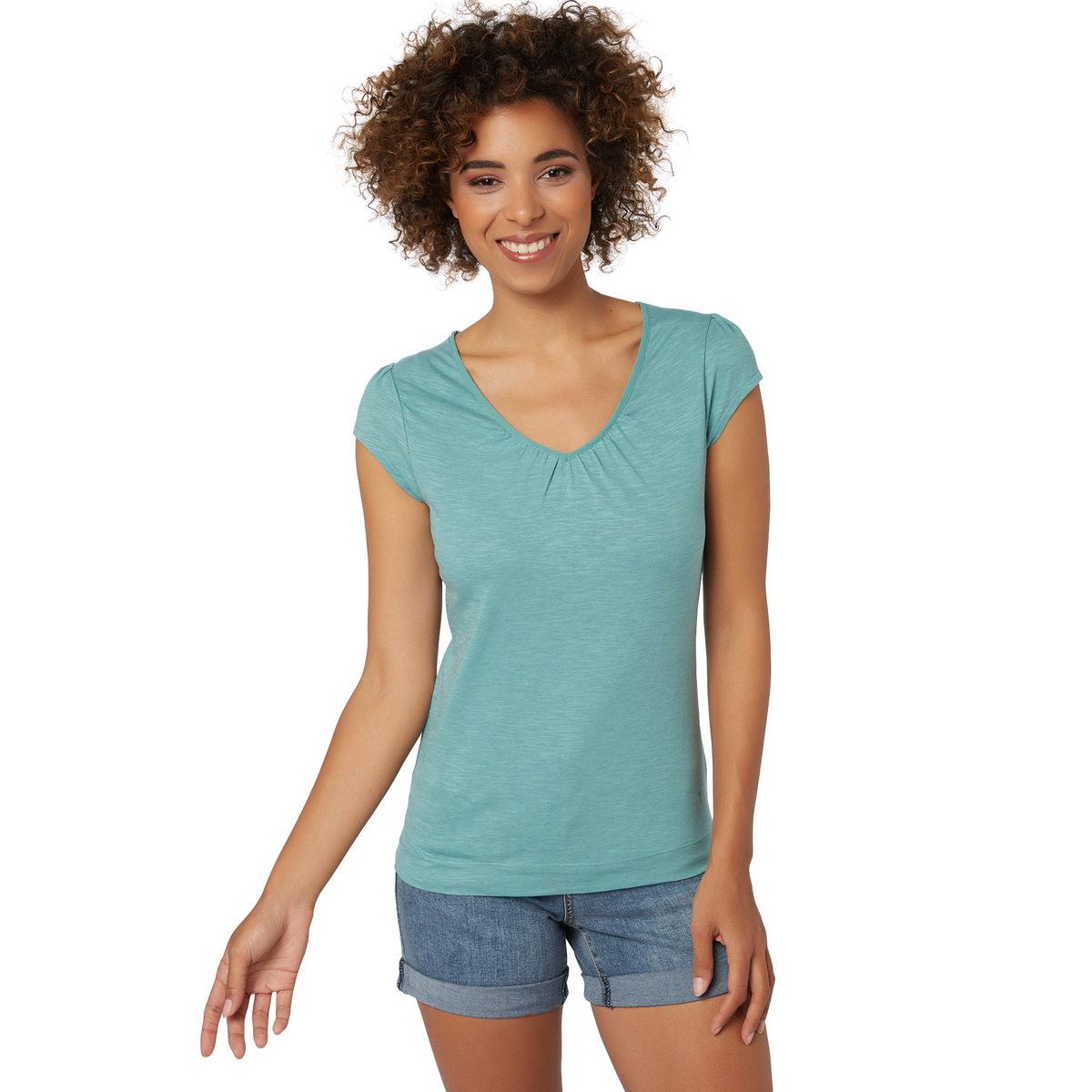 T-Shirt Valea mit gerafftem Ausschnitt in light aqua