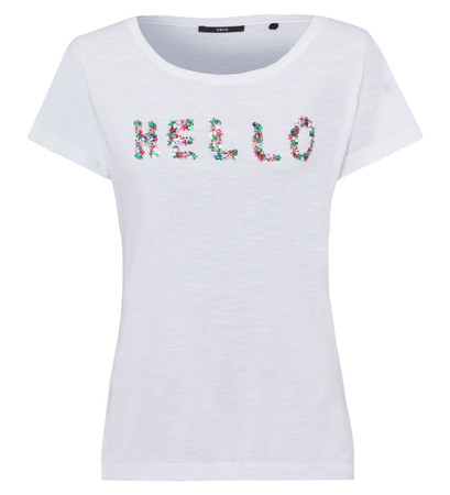 T-Shirt mit Stickerei in white