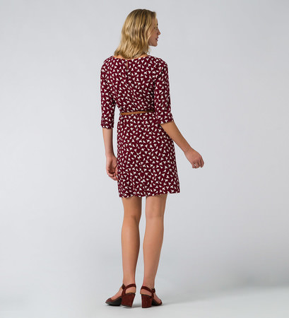 Kleid mit Vogelprint in brick red