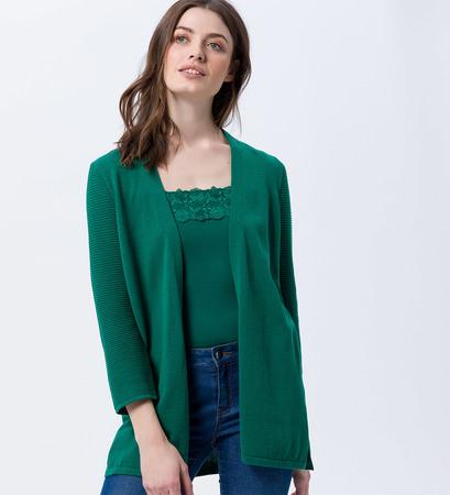 Cardigan mit gerippten Ärmeln in green