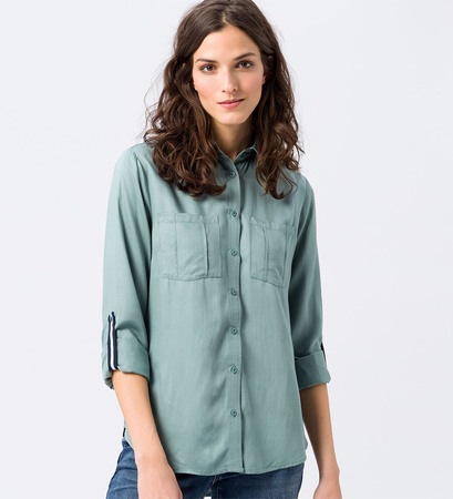 Bluse im unifarbenen Design in dusk jade