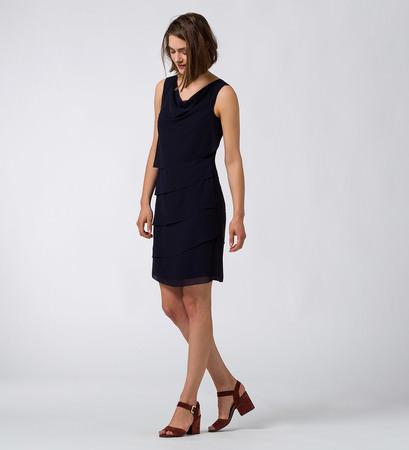 Kleid mit Volants in blue black