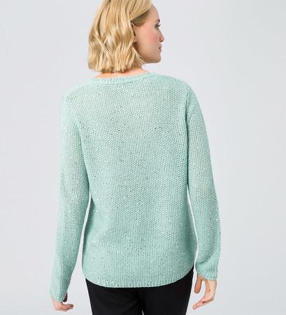 Pullover mit Pailletten in light jade