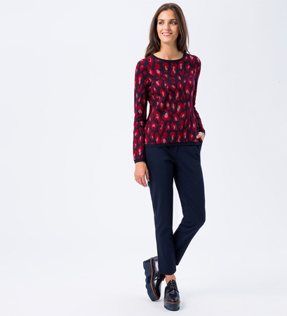 Pullover mit Muster in wine red