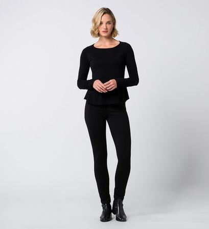 Pullover mit Schößchen in black