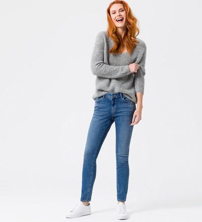 Jeans mit Glitzersteinchen 30 Inch in mid blue authentic wash