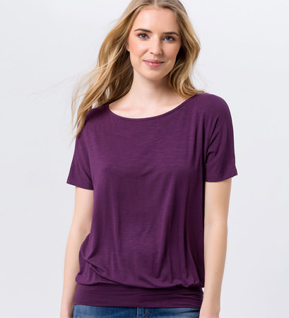 Shirt mit breitem Bund in plum