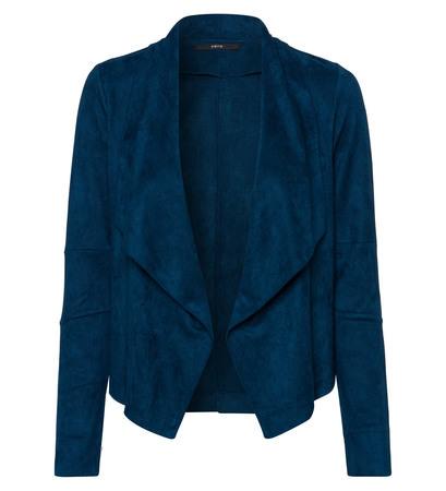 Jersey Cardigan mit fließendem Spatenkragen in petrol blue